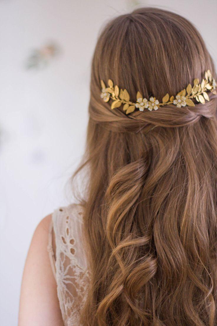 Sara Flower Vine Gold Leaf Comb Gold Leaf Headpiece