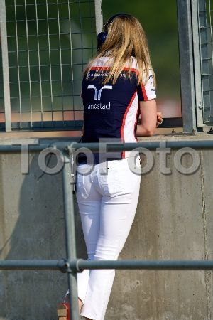 17.07.2013 Silverstone, England. Williams F1 driver Susie Wolff watches the morning session during the Formula One young drivers test at Silverstone.