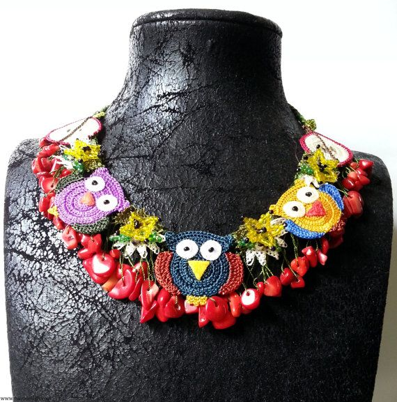 Needle Lace NecklaceCoral Stone Necklace Owl by NazoDesign on Etsy, $95.00