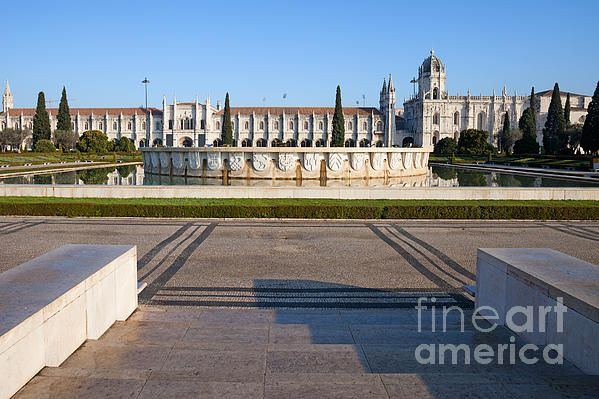 Garden Praca do Imperio and Jeronimos Monastery in Lisbon, Portugal, Belem District. #lisbon #lisboa #portugal #pracadoimperio #jeronimosmonastery #monastery #europe #landmark #historicalplace
