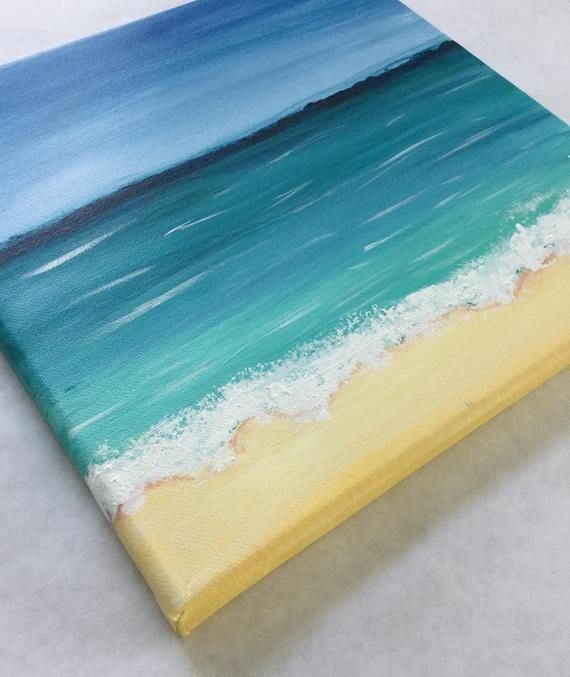 Original Beach Art 10 Inches X 10 Inches The Frame Is Not