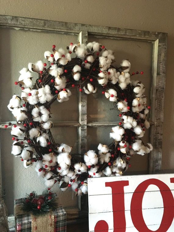 Christmas Berry Wreath, Cotton Winter Wreath, Cotton Wreath, Red Berry Wreath, Holiday Wreath, Winter Wreath, Christmas Decor,