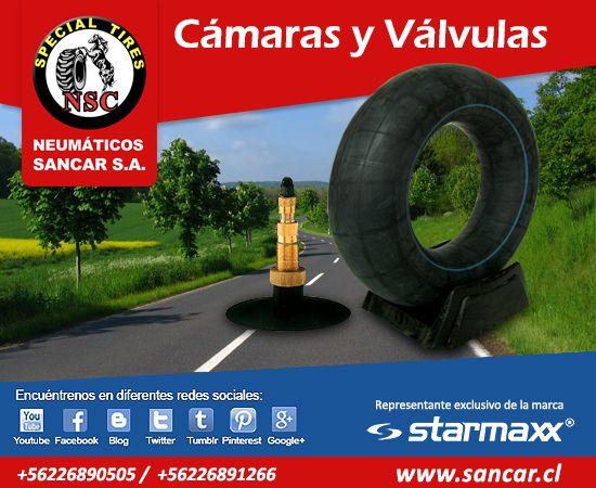 Cámaras y Válvulas Todos los neumáticos en www.sancar.cl  encuéntranos en redes sociales!!!