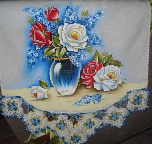 Pano de copa com pintura e croche | Artes em Crochê e Pintura | 1A68E0 - Elo7