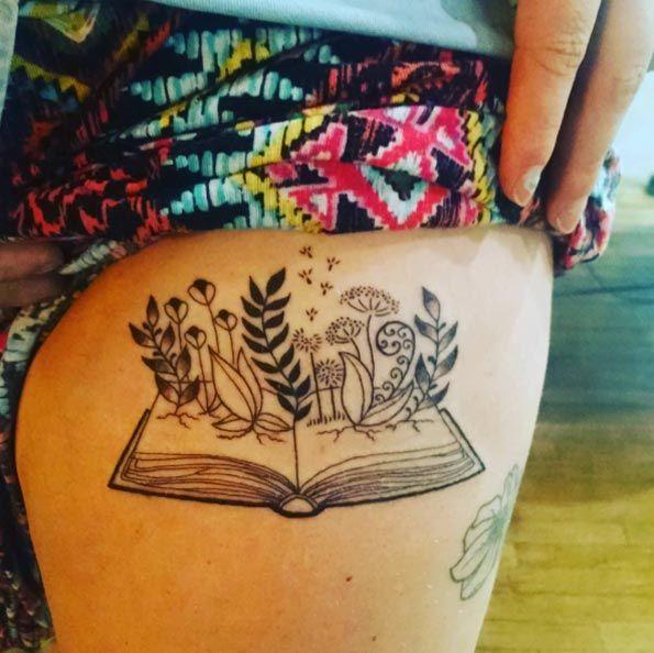Book Tattoo Design on Thigh by Miss Sassafras