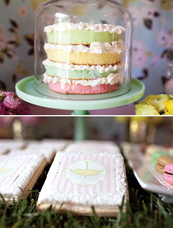 pastel: Layered Cakes, Easter Cakes, Cakes Ideas, Shower Cakes, Parties Ideas, Spring Baby, Baby Sprinkles, Pastel Cakes, Baby Shower