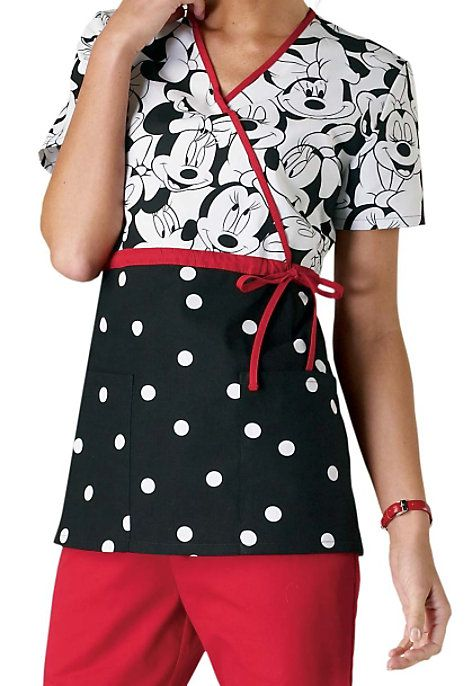 Make someone smile when they need it most. The cutest print we've ever seen, just in from Cherokee! Features adjustable side tie and empire waist mock-wrap trimmed in red. Front patch pockets. 100% Cotton. Medium center back length 27 1/2