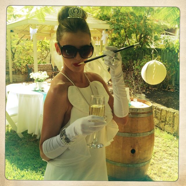 """Breakfast @ Tiffany's Themed Hen's Party - Hen Outfit - """"White Holly Golightly"""" - Gloves - Cigarette Stick"""