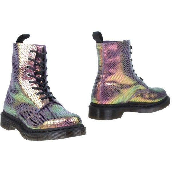 Dr. Martens Ankle Boots ($150) ❤ liked on Polyvore featuring shoes, boots, ankle booties, lilac, leather bootie, iridescent boots, round cap, dr martens boots and leather ankle bootie