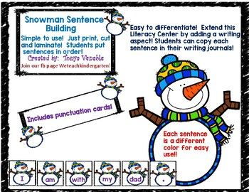 Students can manipulate each Snowman word card to put sentences in order! Each sentence is a different color for easy use! Easy to differentiate and easy to add a writing aspect. Students can copy each sentence into their writing journal. Covers many common sight words, as well as CVC words.