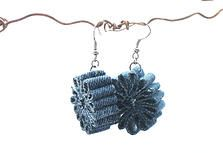 Upcycled Denim Earrings.  Gloucestershire Resource Centre http://www.grcltd.org/scrapstore/