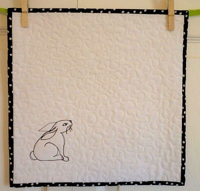 """This exemplifies the use of negative space: """"Year of the rabbit"""" mini-quilt by Cathy Baumgartner"""