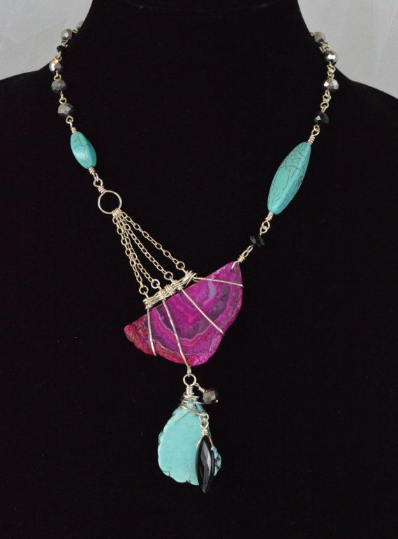 Bold and Large Half Pink Agate Slice, Turquoise and Sterling Silver Adrienne Adelle Asymmetrical Statement Necklace How unique!