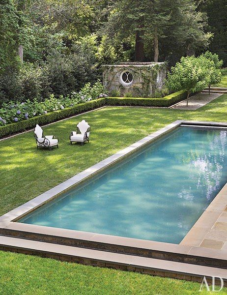 pool, clipped boxwood, hydrangeasLap Pools, Swimming Pools, Outdoor Living, Gardens, Landscapes, Outdoor Spaces, Architecture Digest, Suzanne Kasler, Backyards