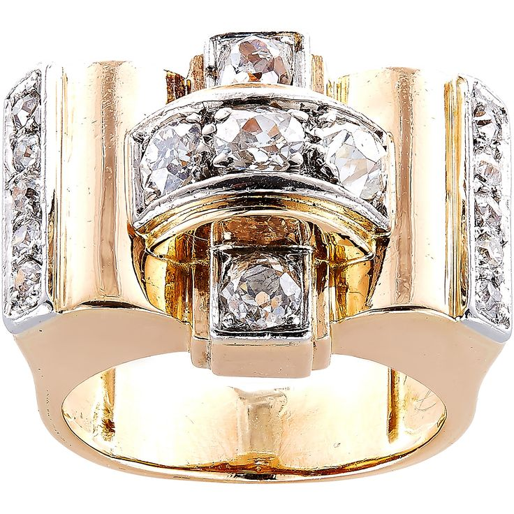 Size 5.75 18K Yellow Gold 1 1/4ct TDW 1940's French Estate Deco Ring (H-I, SI1-SI2) (Estate Jewelry)