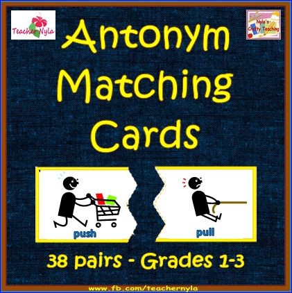 Antonym Matching Cards - Cute pictures - Grades 1-3. Download the free sample pages! $ #ela #vocabulary #antonyms