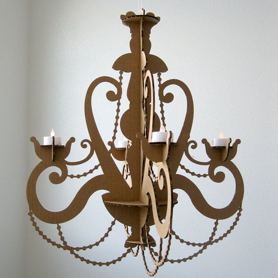 Tea Light Chandelier - Cardboard Chandelier, Candle Chandelier, Hanging Chandelier, Faux Candle, Chandelier Light, Lighting Chandelier
