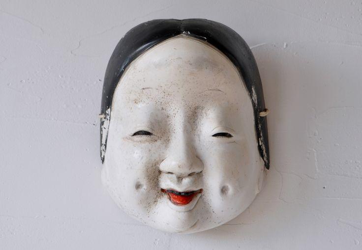 Antique Japanese wooden otafuku mask with crystal eyes