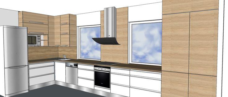 kuchyň Studničková bílá + dub Gladstone