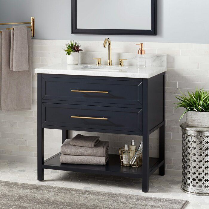 36 Robertson Vanity Cabinet Midnight Navy Blue Carrara Marble Rectangular Undermount Sink Jo Blue Bathroom Vanity Small Bathroom Decor Bathroom Vanity