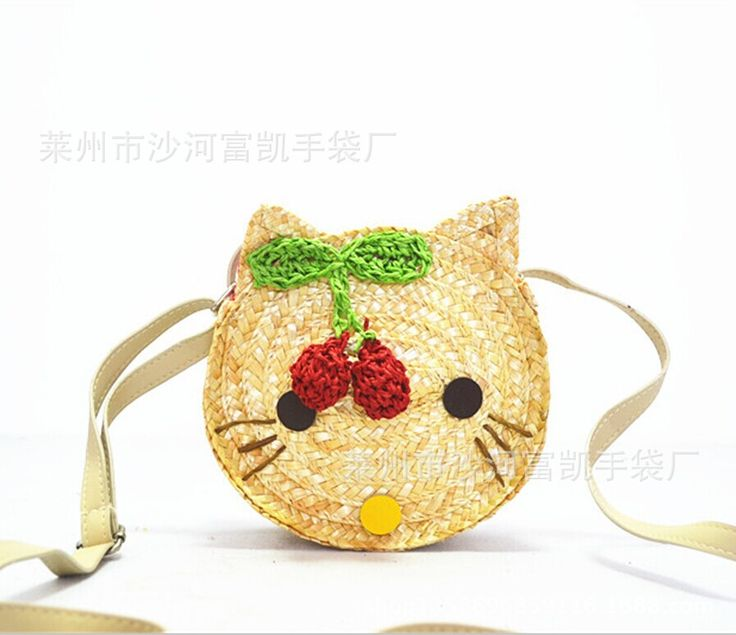 17X15CM Fresh summer new small children straw bag cat bag kawaii casual female bag A2282 - Top Kawaii - Best Online Kawaii Shop Top Kawaii - Best Online Kawaii Shop