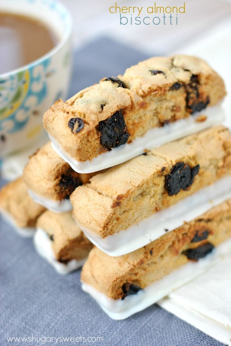 Sweet and crunchy Cherry Almond Biscotti recipe. Don't forget the white chocolate!