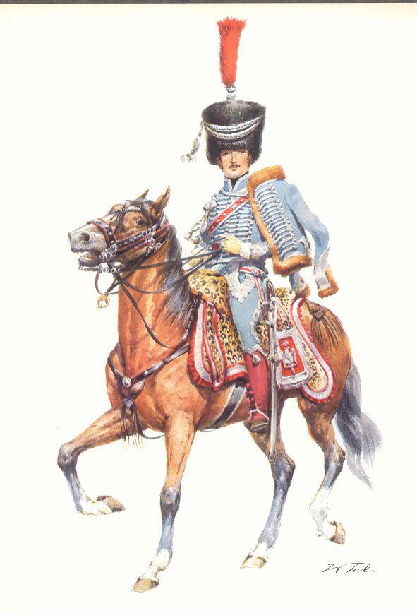 Coiffure France 19eme - Tritt W. Armeé de France 1800-1814 - Les costumes militaires -1809-1813 – Régiment de Hussards