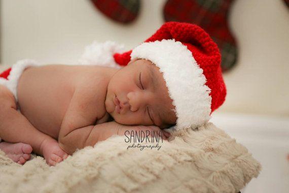 Newborn Crochet Santa Hat and Diaper Cover Set Photography Prop!