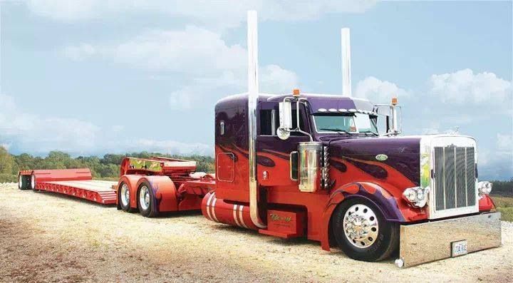 Purple and red Peterbilt w/low boy