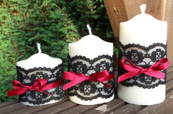 Burlesque Soy Pillar Candle Trio Scented with by pilipalahandmade, £20.00  Other colors..pale peachy pink...ivory lace and ribbon.