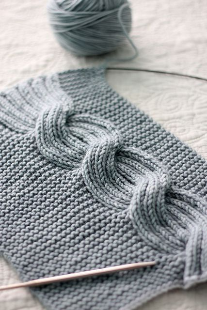 Stitches. A reversible cable — set asymmetrically against a garter stitch background. Millwater by Beth Kling