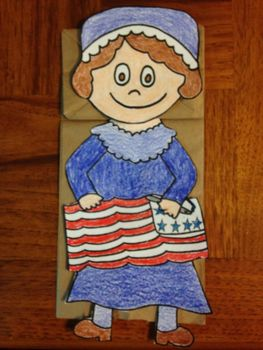 Known as the woman who created the first American Flag, Betsy Rosscan be role played by students with this paper bag puppet.Betsy Ross can also be glued to a large construction paper and students can write about her.Thanks for your purchase.