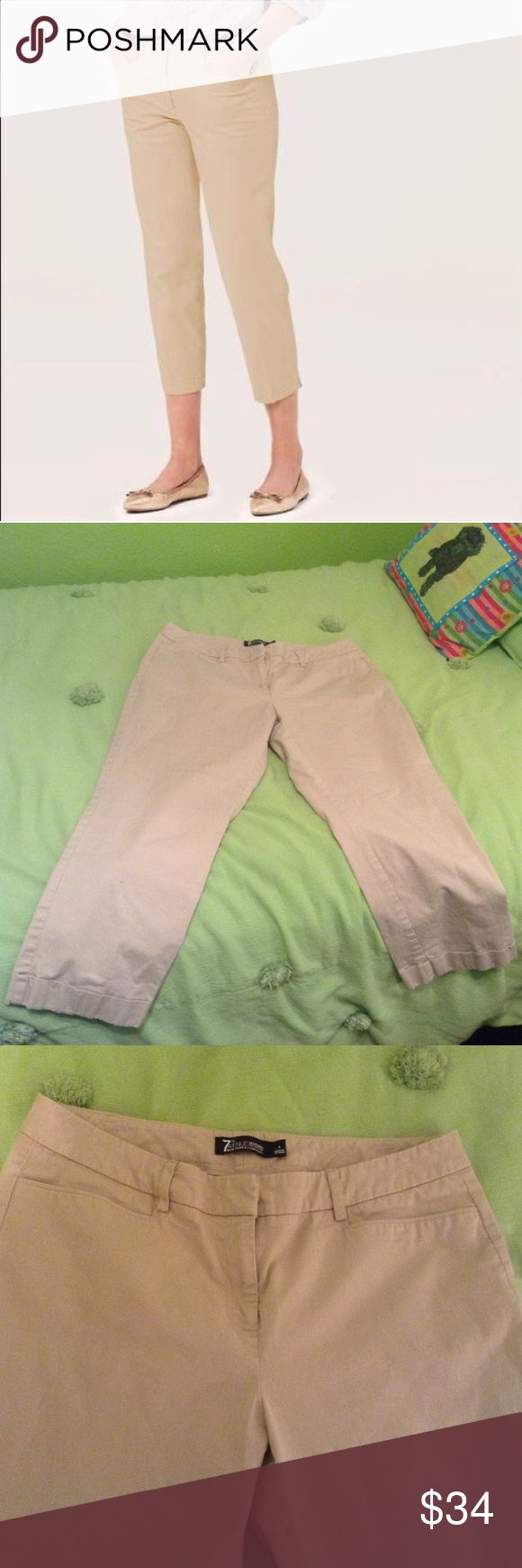 Khaki Capri Pants A nice pair of khaki Capri style pants. Only worn once or twice. In great condition!!! New York & Company Pants Capris
