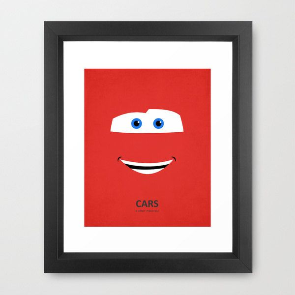 Disney Pixar's Cars Art Print Set - Three 8x10 Metallic Prints - Lightning McQueen, Tow Mater, & Sally minimalist Children's room decor. $46.50, via Etsy.