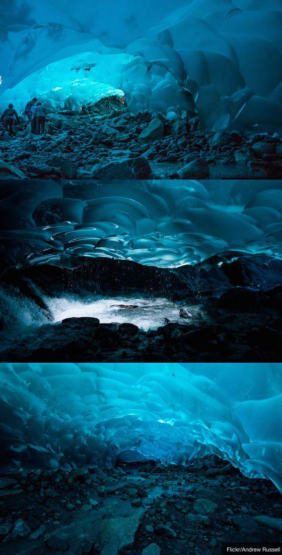 Alaska's Mendenhall Glacier is hiding a pretty awesome secret: miles of hidden ice caves below the glacier.