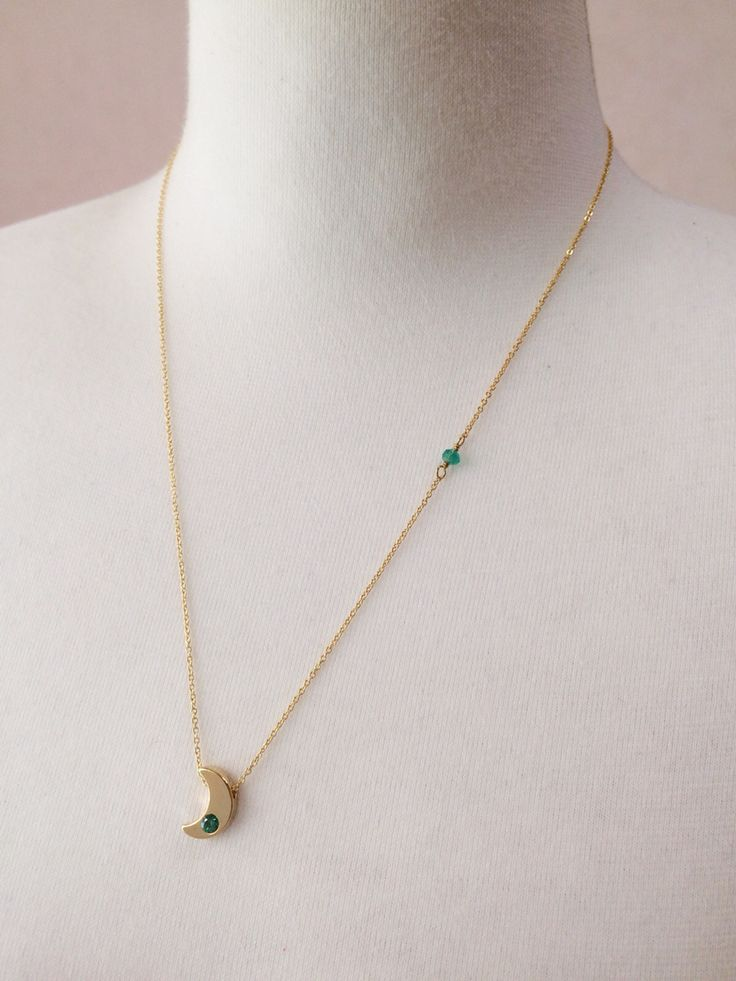 Small crescent necklace (green) / green onix / cubic zirconia / by So.