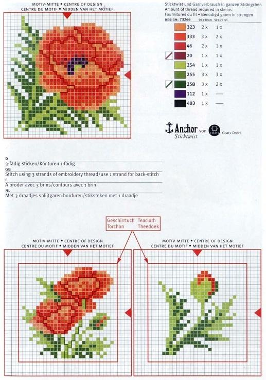 Cross-stitch Poppies Biscornu...    Gallery.ru / Фото #9 - 40 - ZinaidaR
