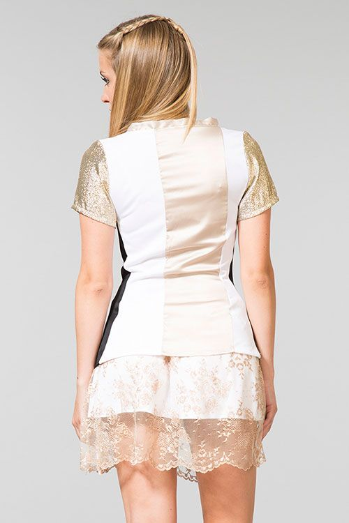 Laura silk top + Amelia gold skirt | back