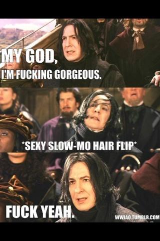 :): Laughing, Severus Snape, Alan Rickman, Harry Potter Fandoms, Hairs Flip, Alanrickman, Funnies, Things, Long Hairs
