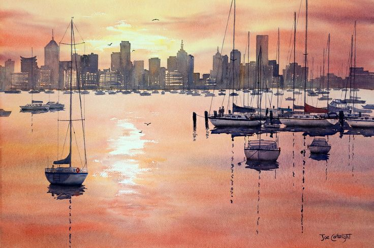Sunrise over Melbourne from Williamstown  \\  Artist-  Joe Cartwright \ watercolor painting