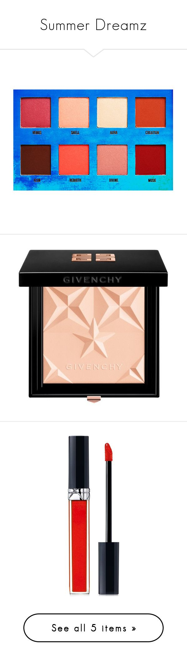 Summer Dreamz by chloteldagracella on Polyvore featuring polyvore, beauty products, makeup, eye makeup, eyeshadow, beauty, eyes, lime crime, palette eyeshadow, face makeup, face powder, luminizers, red, givenchy, lip makeup, lipstick, lips, cosmetics, filler, red smile, christian dior lipstick, christian dior, shiny lipstick, gloss lipstick, lip gloss makeup, women's fashion, shoes, pumps, heels, louboutin, sapatos, black, black pointed toe pumps, pointed-toe pumps, black d orsay pumps, d…