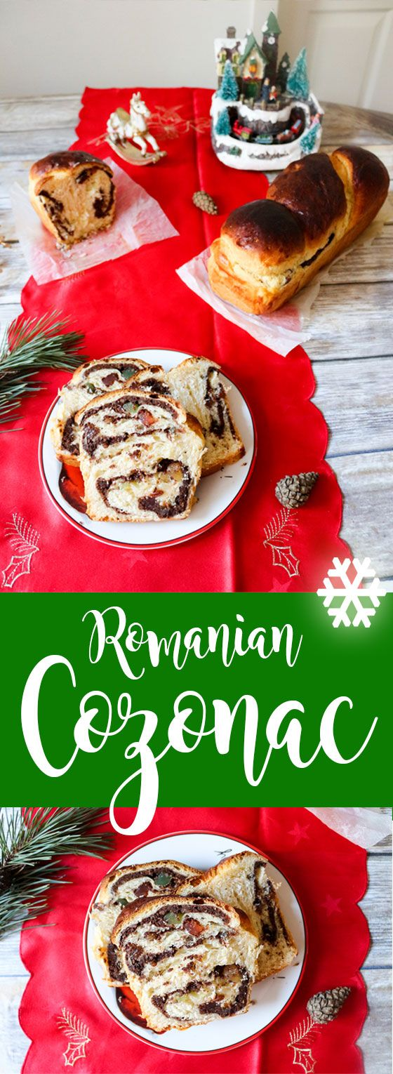Romanian cozonac - a traditional Christmas dessert consisting of a sweet bread with walnut cream, raisins and Turkish delight.