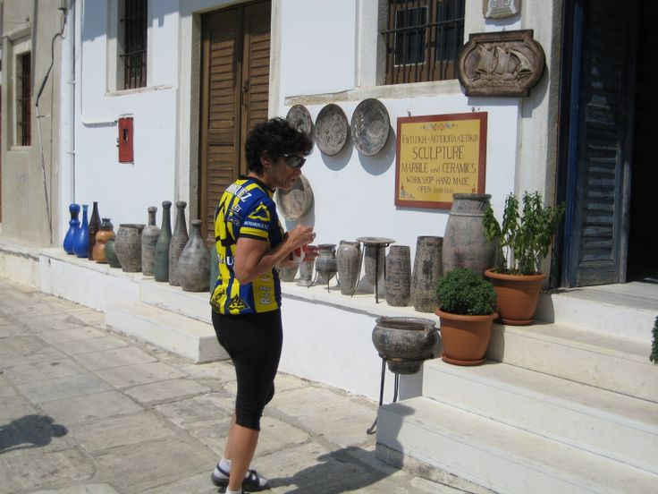 The car-free and bike-free village of Apiranthos has traditional artisans like this ceramics store.