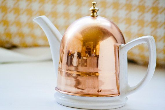 Vintage Porcelain Tea Pot With Copper Cozy Cover Made in Korea - (What a cute teapot!)