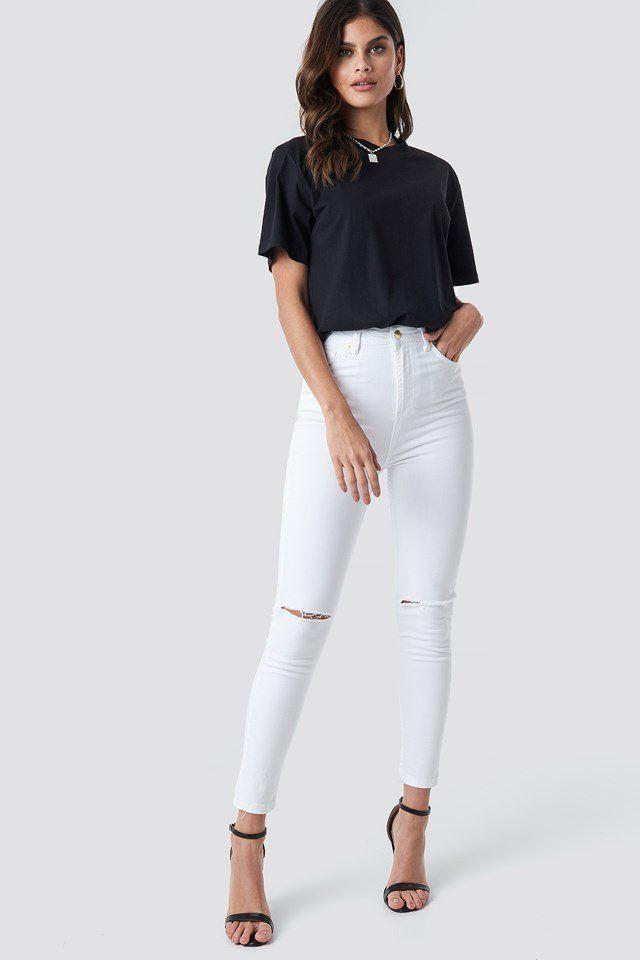 High Rise Knee Rip Super Skinny Jeans | Super skinny jeans