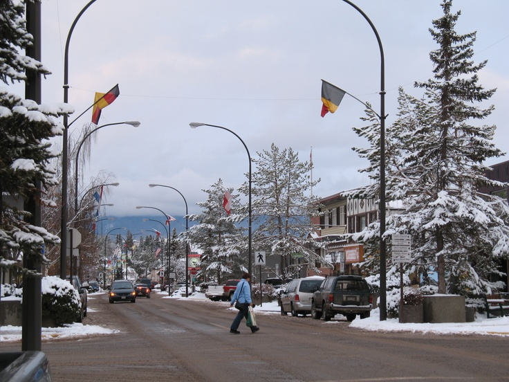 smithers, bc: main street in the winter