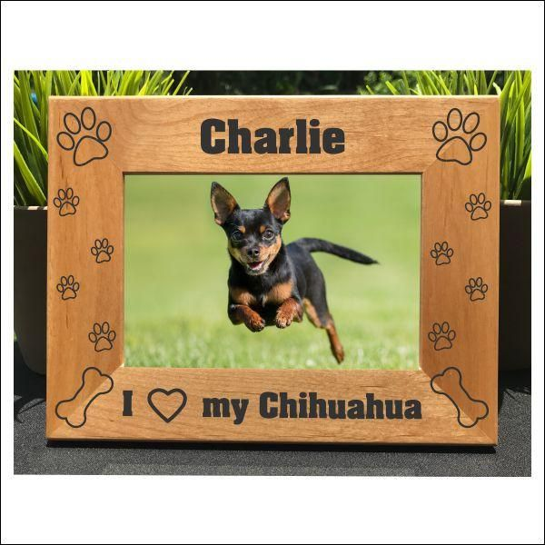 I Love my Chihuahua // Personalized Engraved Photo Frame // Picture Frame // Gift