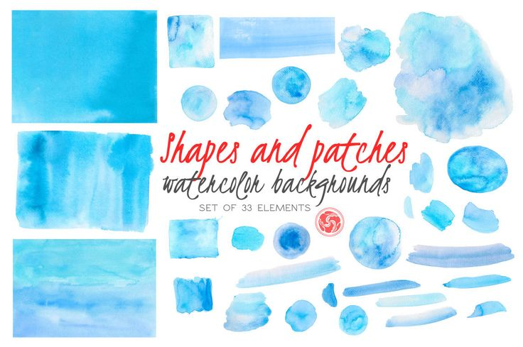 WATERCOLOR SPLOTCHES for instant download - brush strokes, watercolor splotch, blotch, stain, blue watercolor backgrounds, watercolor shapes by AnkuGraphics on Etsy