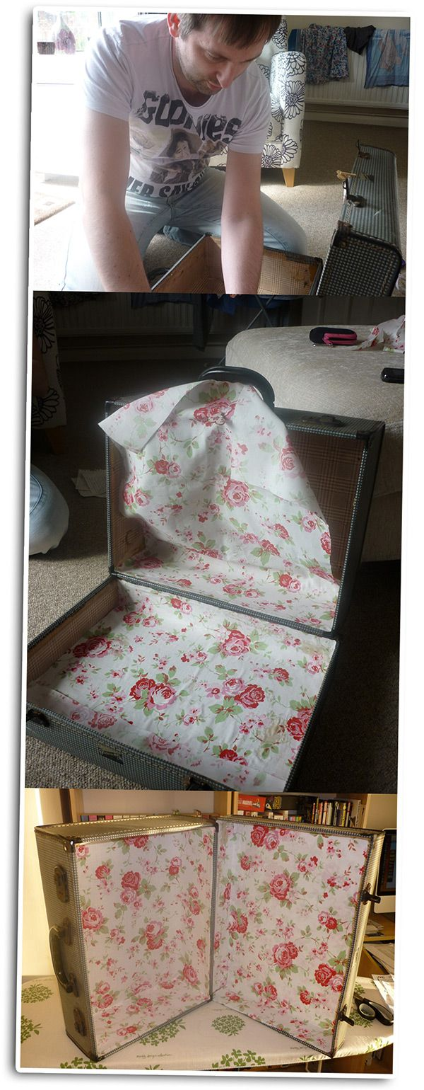 suitcase .. I would decoupage fabric to the interior using Fabric Mod Podge!