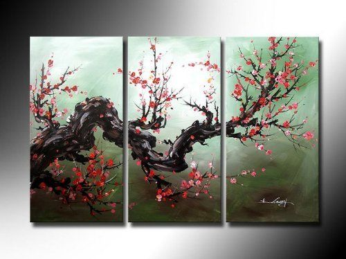 Asian Zen Decorative Modern Plum Blossom Oil Painting Hand Painted Wall Art 3 Piece by youniverseonline, http://www.amazon.com/dp/B005EN273G/ref=cm_sw_r_pi_dp_5.qesb0Z5NAW5